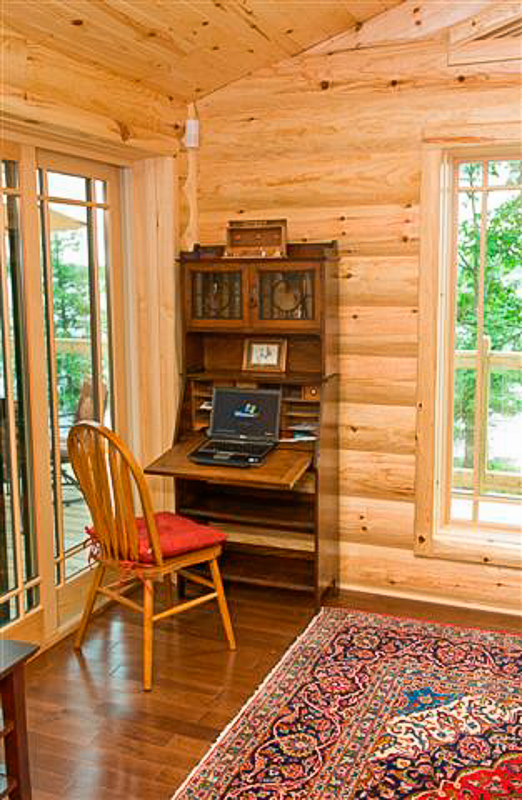 Ordinaire Corner Desk With Log Siding Wall