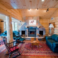 Rustic Log Siding Fireplace