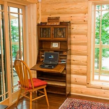 Corner Desk with Log Siding wall
