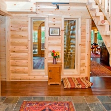 Half Log Siding Entry Way