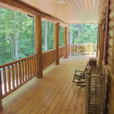 Exterior Cedar Log Railing on Porch