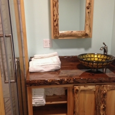Rustic Cedar Log & Panel With Stained Epoxy Top