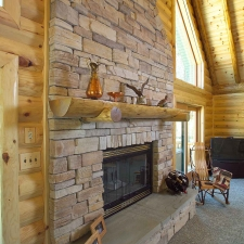 Half Log Fireplace
