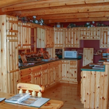 Knotty Pine Rustic Log Style Kitchen