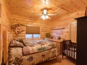 Knotty Pine Paneling in Bedroom