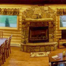 Log Siding Interior Fireplace