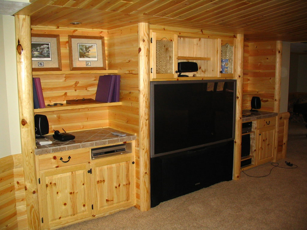 Man Cave Kitchen Cabinets : Rustic man cave build your own log cabin
