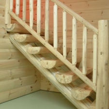 Half Log Stairway with Log Railing