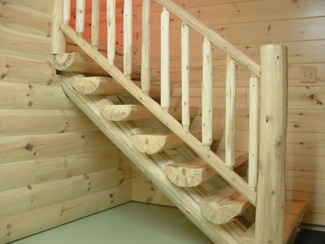 Half Log Stairway Wit HLog Railing
