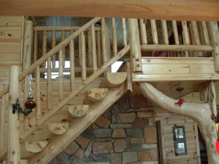 Captivating Natural Log Stairway