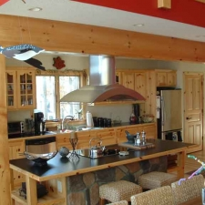 Custom Raised Panel Knotty Pine Kitchen w/ Glass Doors