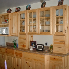 Knotty Pine Raised Panel Cabinetry w/Glass Door Mullions