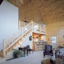 Knotty Pine Timber Stairway