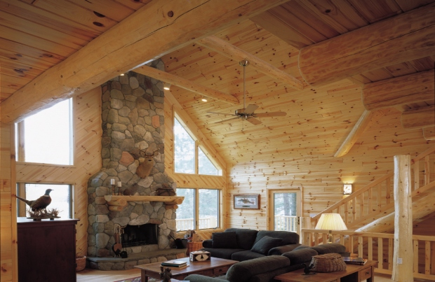 Log Mantles & knotty pine paneling