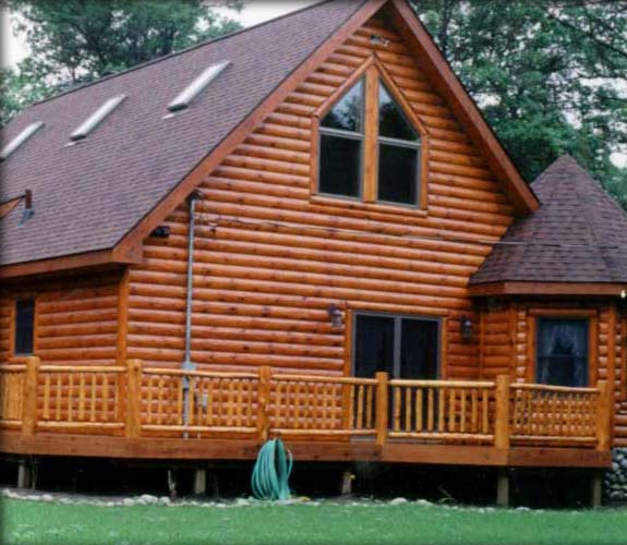 Log siding log cabin siding and knotty pine paneling How to stain log cabin