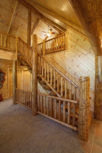 Log Stairs & Log Railing