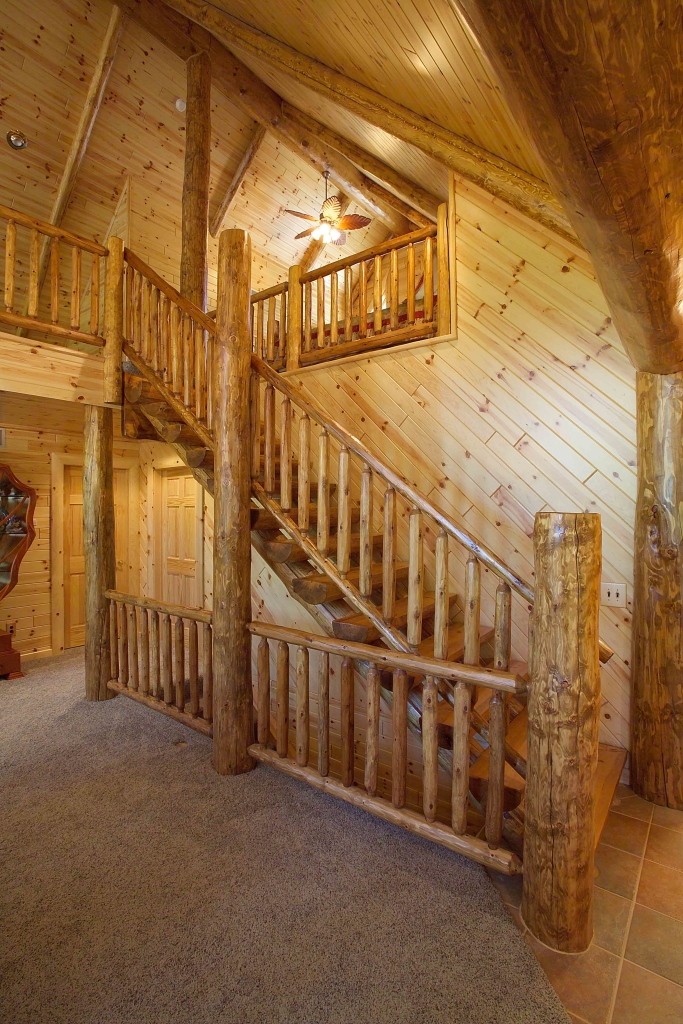 Log Railing & Stairs