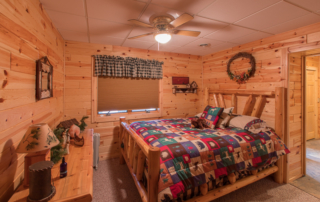 bedroom in knotty pine paneling