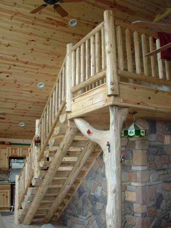 Merveilleux Interior Log Railing Stairway