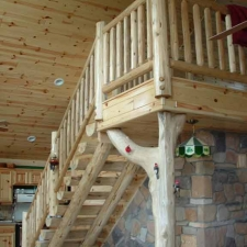Interior Log Railing Stairway