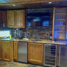 Log & Panel Custom Stained Bar Cabinets 1