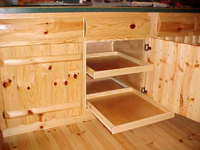 Knotty Pine Rustic Log Style Pull Out Drawers