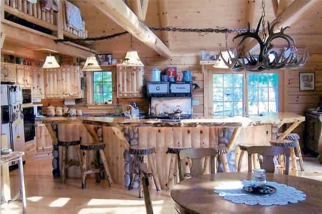 Knotty Pine Rustic Log Style Kitchen w/Log Bar