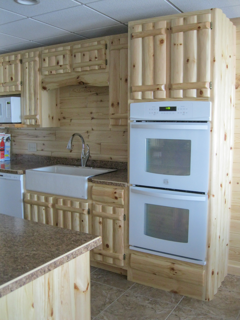 Knotty Pine Rustic Log Style w/ Oven Cabinet