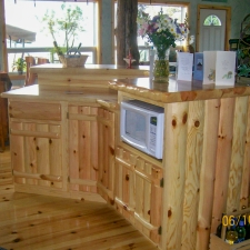 Knotty Pine Rustic Log Style w/Microwave Cabinet