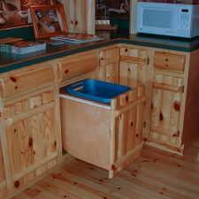 Knotty Pine Rustic Log Style Waste Basket Cabinet