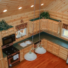 Knotty Pine Rustic Log Style Cabinetry Overhead