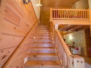 White Pine Timber Stairway w/ Rustic Railing