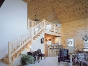 knotty pine stairway