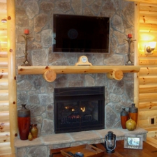 Pine Log Mantle