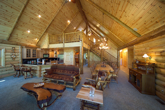 Massive Living Room with Log Siding