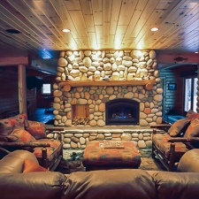 Man Cave Log Fireplace Mantel