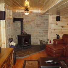 Man-Caves Knotty Pine and Wood Stove