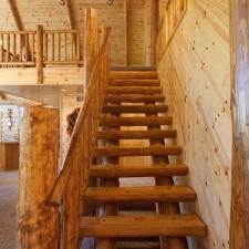 Log Stairway with Stain