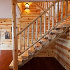 Half Log Stairway with Cedar Log Railing