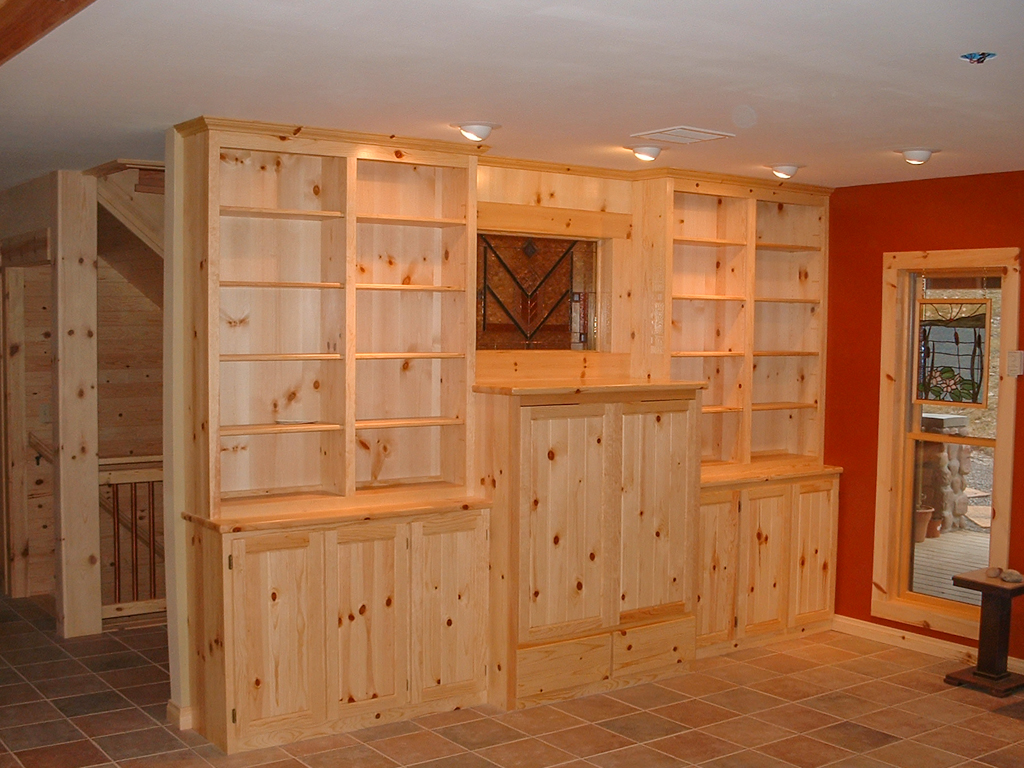 Knotty Pine Built-In Wall Unit
