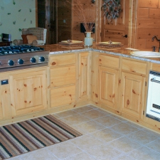 Knotty Pine Raised Panel w/Oven Cook-top Cabinets