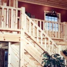 Knotty Pine Stairway Railing