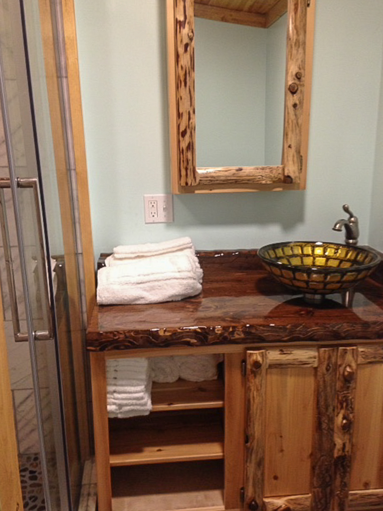Log & Panel Rustic Cedar Vanity & Mirror