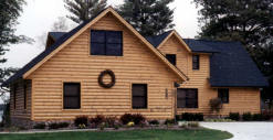 Large Lakefront Home with Log Siding