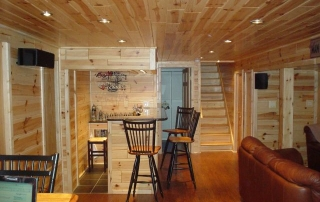 Beautiful Knotty pine paneling man cave