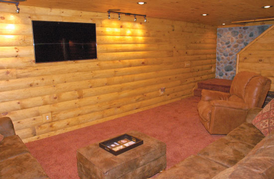 Man Cave Basement Log Siding Update
