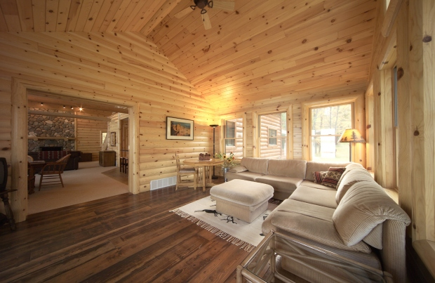 log siding and knotty pine paneling
