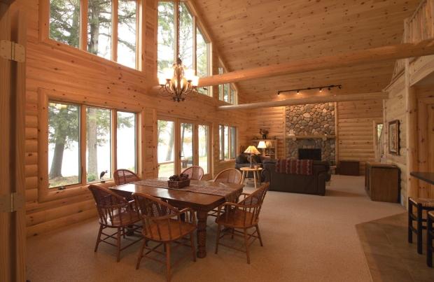 Quarter Log Siding: Interior Living Room