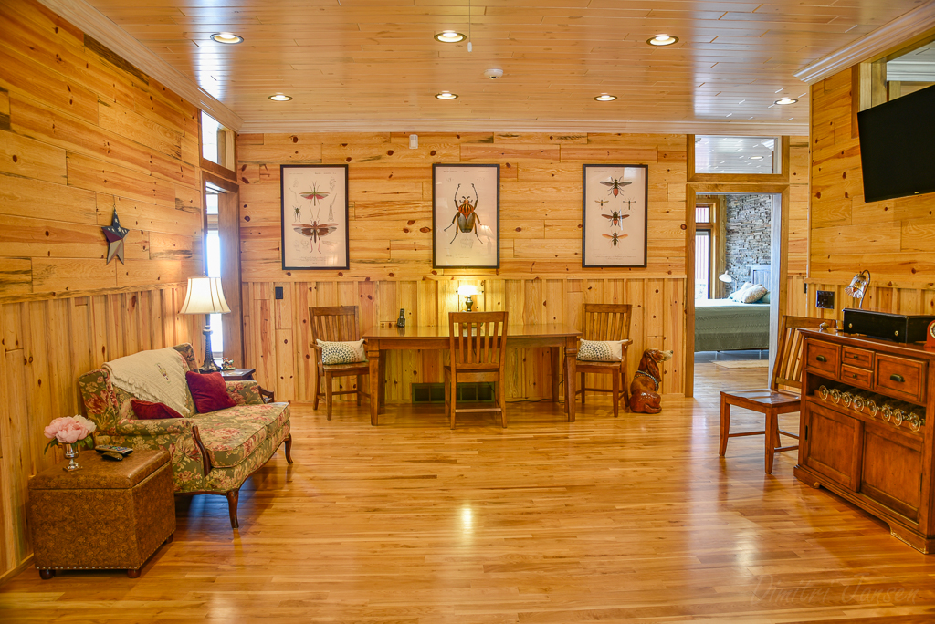 knotty pine paneling office