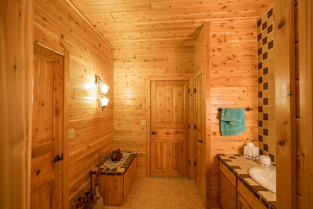 1x6 Prefinished Cedar Paneling Bathroom & Cedar Vanity